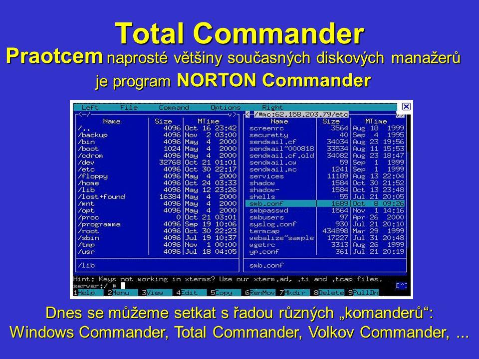 """Total Commander Praotcem Praotcem naprosté většiny současných diskových manažerů je program NORTON Commander Dnes se můžeme setkat s řadou různých """"ko"""