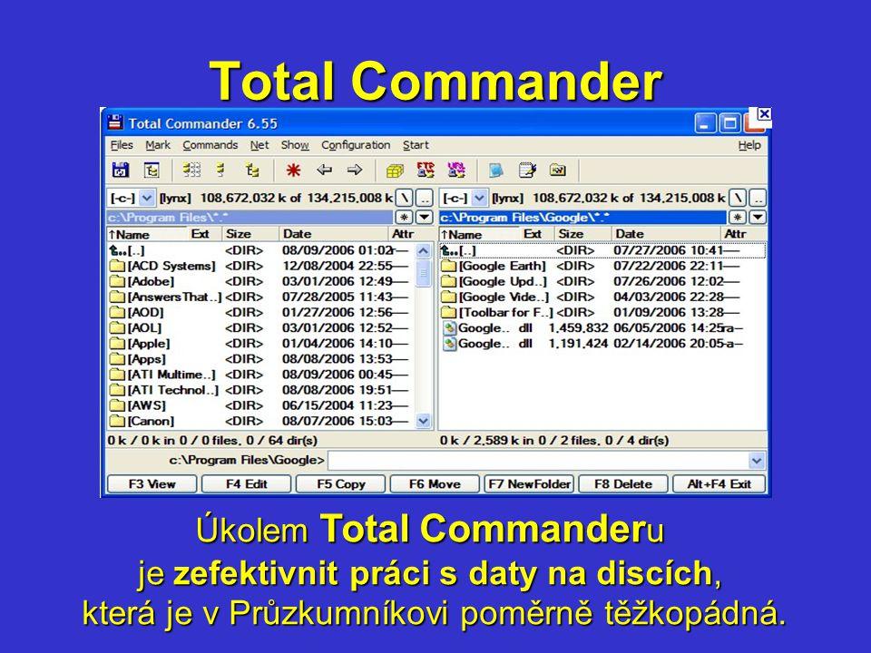 Total Commander Úkolem Total Commander u je zefektivnit práci s daty na discích, která je v Průzkumníkovi poměrně těžkopádná.
