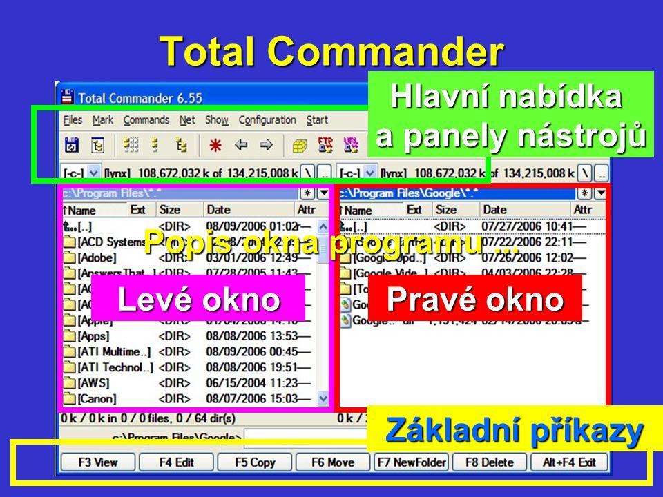 Total Commander Levé okno Pravé okno Základní příkazy Hlavní nabídka a panely nástrojů Popis okna programu...