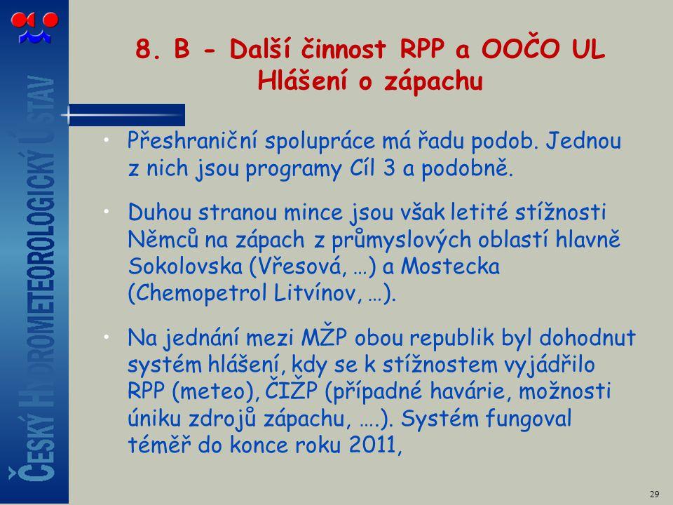 8. B - Další činnost RPP a OOČO UL Hlášení o zápachu Přeshraniční spolupráce má řadu podob.