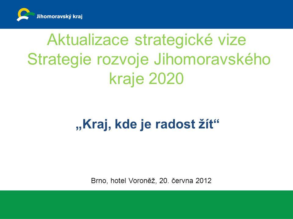 """Aktualizace strategické vize Strategie rozvoje Jihomoravského kraje 2020 """"Kraj, kde je radost žít Brno, hotel Voroněž, 20."""