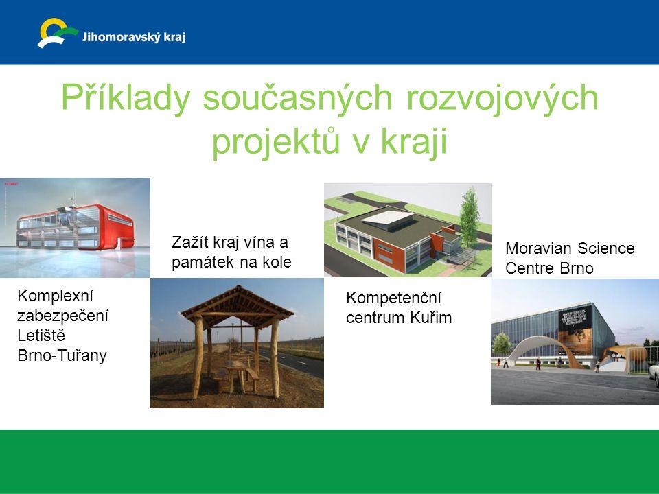 Příklady současných rozvojových projektů v kraji Komplexní zabezpečení Letiště Brno-Tuřany Zažít kraj vína a památek na kole Kompetenční centrum Kuřim Moravian Science Centre Brno