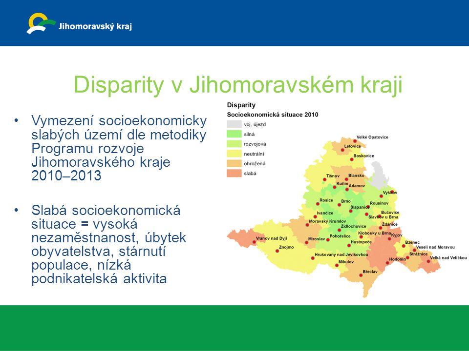 Vymezení socioekonomicky slabých území dle metodiky Programu rozvoje Jihomoravského kraje 2010–2013 Slabá socioekonomická situace = vysoká nezaměstnanost, úbytek obyvatelstva, stárnutí populace, nízká podnikatelská aktivita Disparity v Jihomoravském kraji