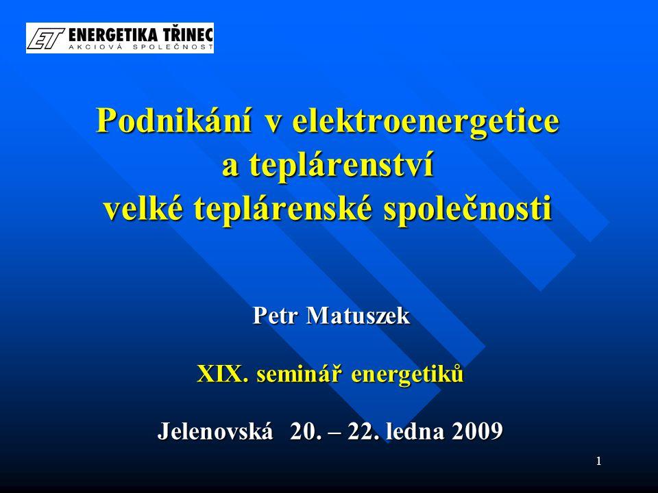 1 Podnikání v elektroenergetice a teplárenství velké teplárenské společnosti Petr Matuszek XIX.