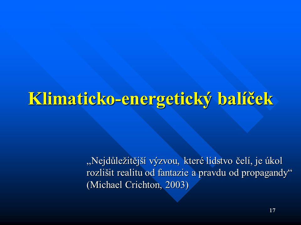 """17 Klimaticko-energetický balíček """"Nejdůležitější výzvou, které lidstvo čelí, je úkol rozlišit realitu od fantazie a pravdu od propagandy (Michael Crichton, 2003)"""
