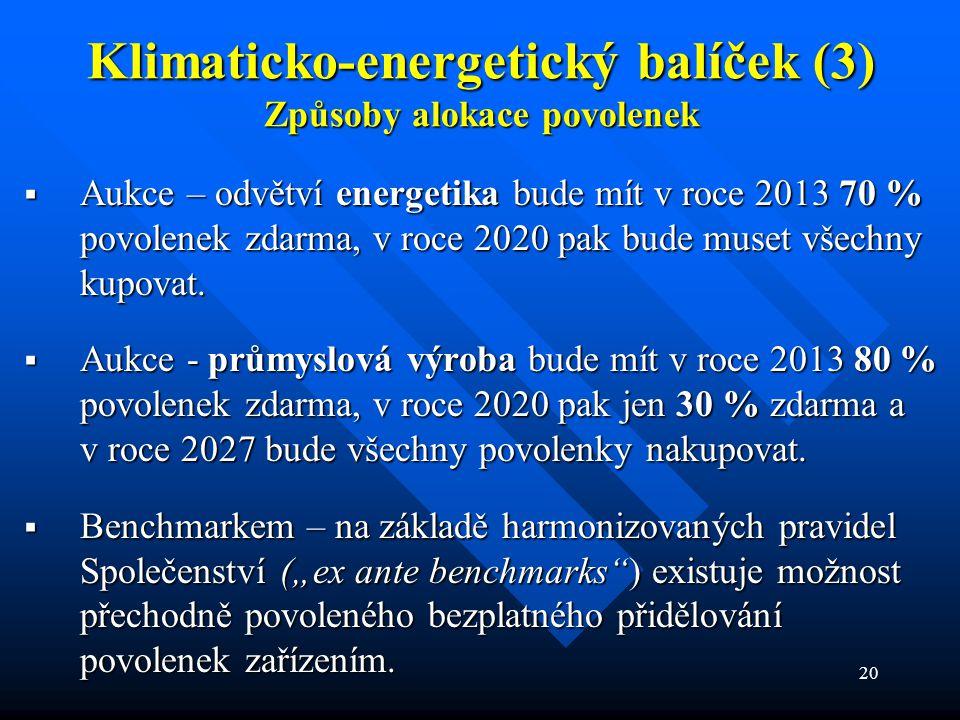 20 Klimaticko-energetický balíček (3) Způsoby alokace povolenek  Aukce – odvětví energetika bude mít v roce 2013 70 % povolenek zdarma, v roce 2020 pak bude muset všechny kupovat.