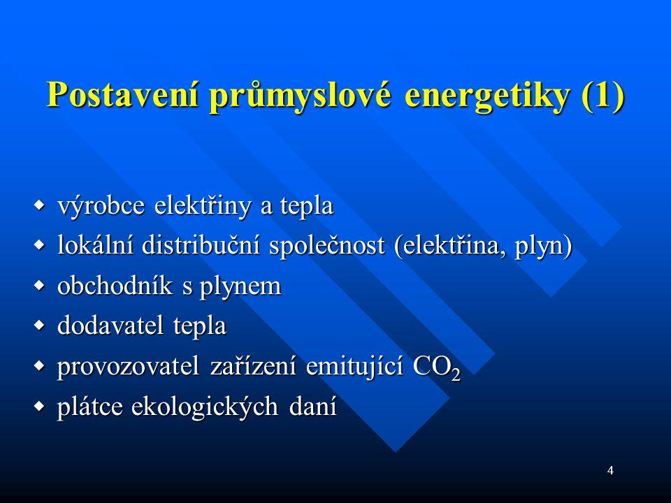 4 Postavení průmyslové energetiky (1)  výrobce elektřiny a tepla  lokální distribuční společnost (elektřina, plyn)  obchodník s plynem  dodavatel tepla  provozovatel zařízení emitující CO 2  plátce ekologických daní