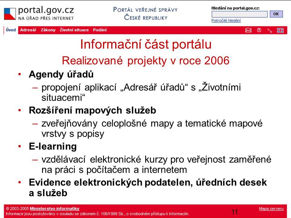"""11 Informační část portálu Realizované projekty v roce 2006 Agendy úřadů –propojení aplikací """"Adresář úřadů"""" s """"Životními situacemi"""" Rozšíření mapovýc"""