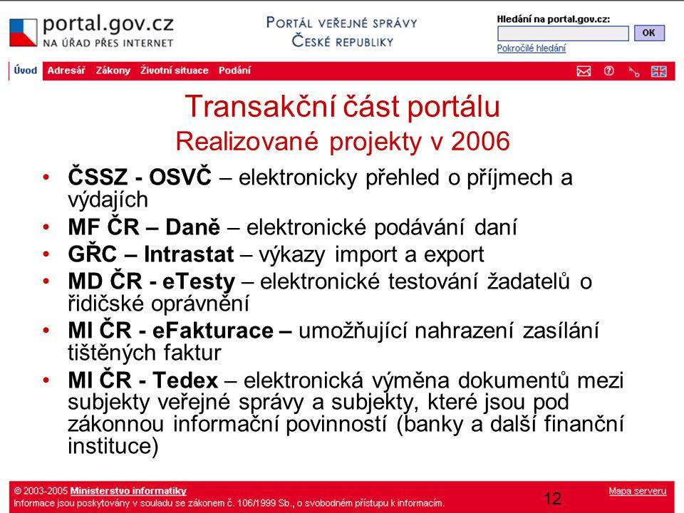 12 Transakční část portálu Realizované projekty v 2006 ČSSZ - OSVČ – elektronicky přehled o příjmech a výdajích MF ČR – Daně – elektronické podávání d
