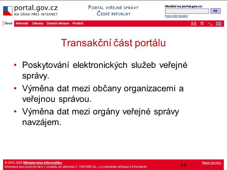 14 Transakční část portálu Poskytování elektronických služeb veřejné správy. Výměna dat mezi občany organizacemi a veřejnou správou. Výměna dat mezi o