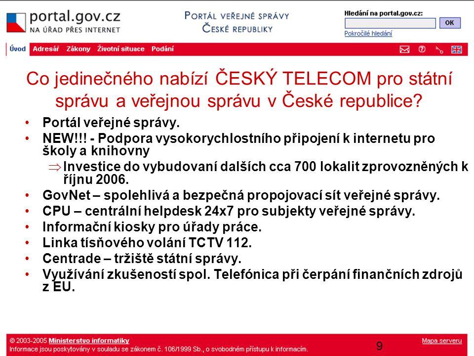 9 Co jedinečného nabízí ČESKÝ TELECOM pro státní správu a veřejnou správu v České republice? Portál veřejné správy. NEW!!! - Podpora vysokorychlostníh