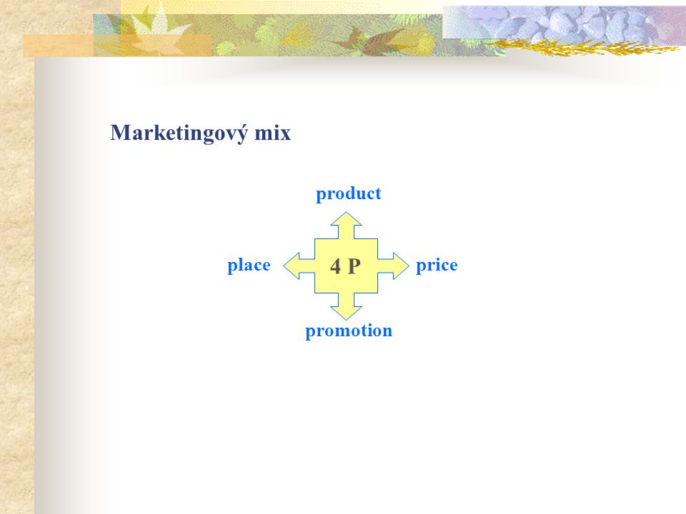 Marketingový mix product promotion placeprice 4 P