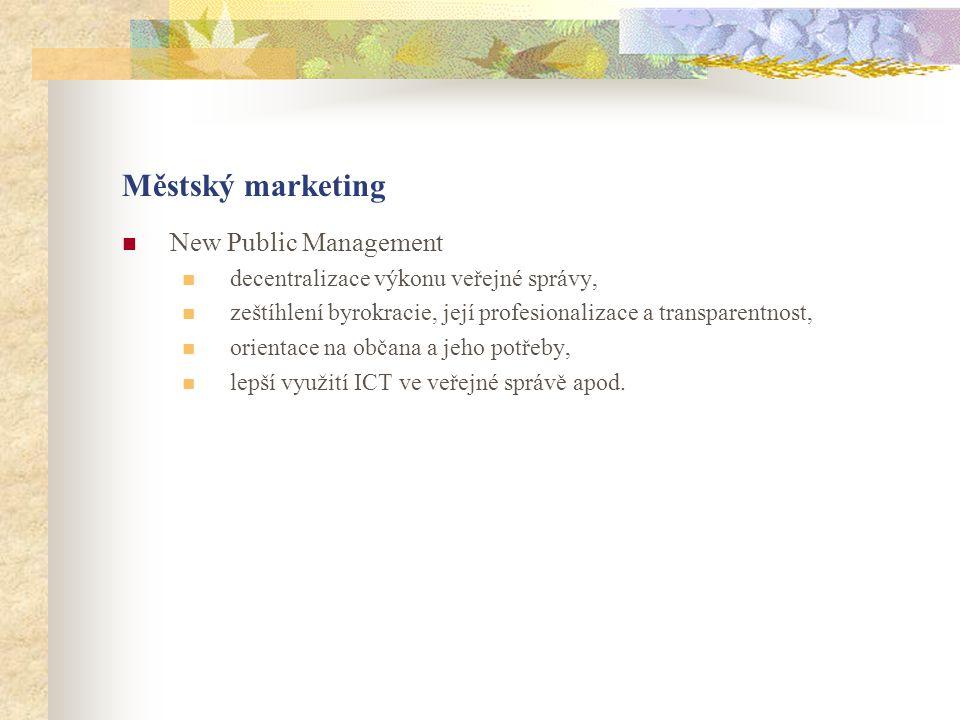 Městský marketing New Public Management decentralizace výkonu veřejné správy, zeštíhlení byrokracie, její profesionalizace a transparentnost, orientace na občana a jeho potřeby, lepší využití ICT ve veřejné správě apod.