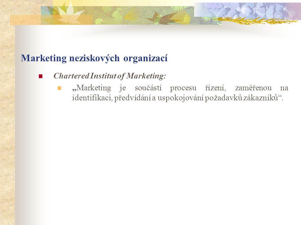 """Marketing neziskových organizací Chartered Institut of Marketing: """"Marketing je součástí procesu řízení, zaměřenou na identifikaci, předvídání a uspokojování požadavků zákazníků ."""
