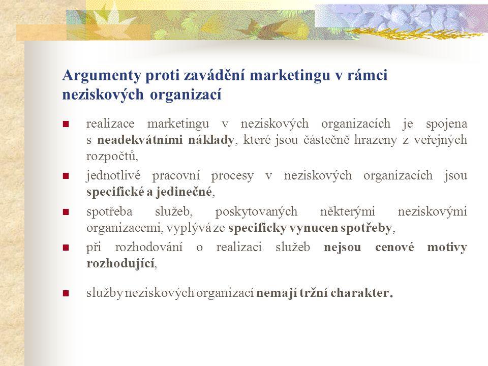 Argumenty proti zavádění marketingu v rámci neziskových organizací realizace marketingu v neziskových organizacích je spojena s neadekvátními náklady, které jsou částečně hrazeny z veřejných rozpočtů, jednotlivé pracovní procesy v neziskových organizacích jsou specifické a jedinečné, spotřeba služeb, poskytovaných některými neziskovými organizacemi, vyplývá ze specificky vynucen spotřeby, při rozhodování o realizaci služeb nejsou cenové motivy rozhodující, služby neziskových organizací nemají tržní charakter.