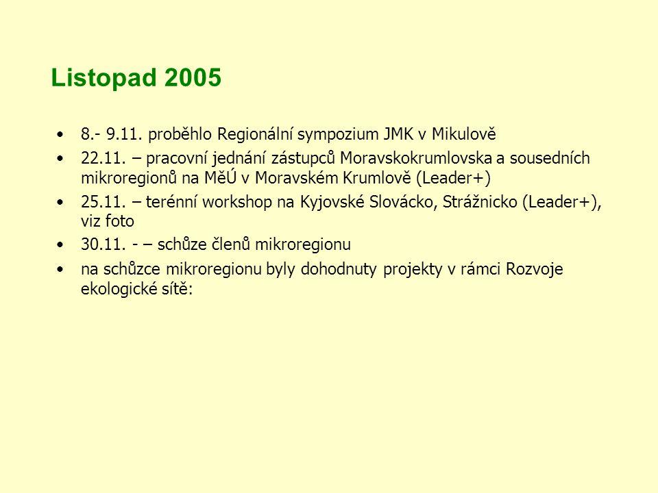 Listopad 2005 8.- 9.11. proběhlo Regionální sympozium JMK v Mikulově 22.11.