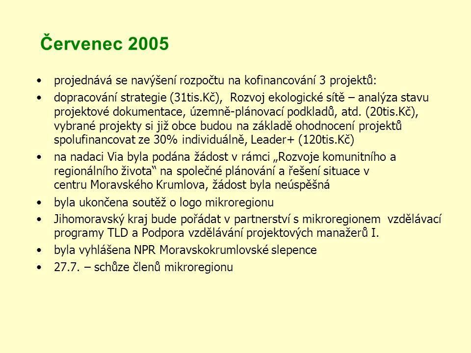 Červenec 2005 projednává se navýšení rozpočtu na kofinancování 3 projektů: dopracování strategie (31tis.Kč), Rozvoj ekologické sítě – analýza stavu projektové dokumentace, územně-plánovací podkladů, atd.