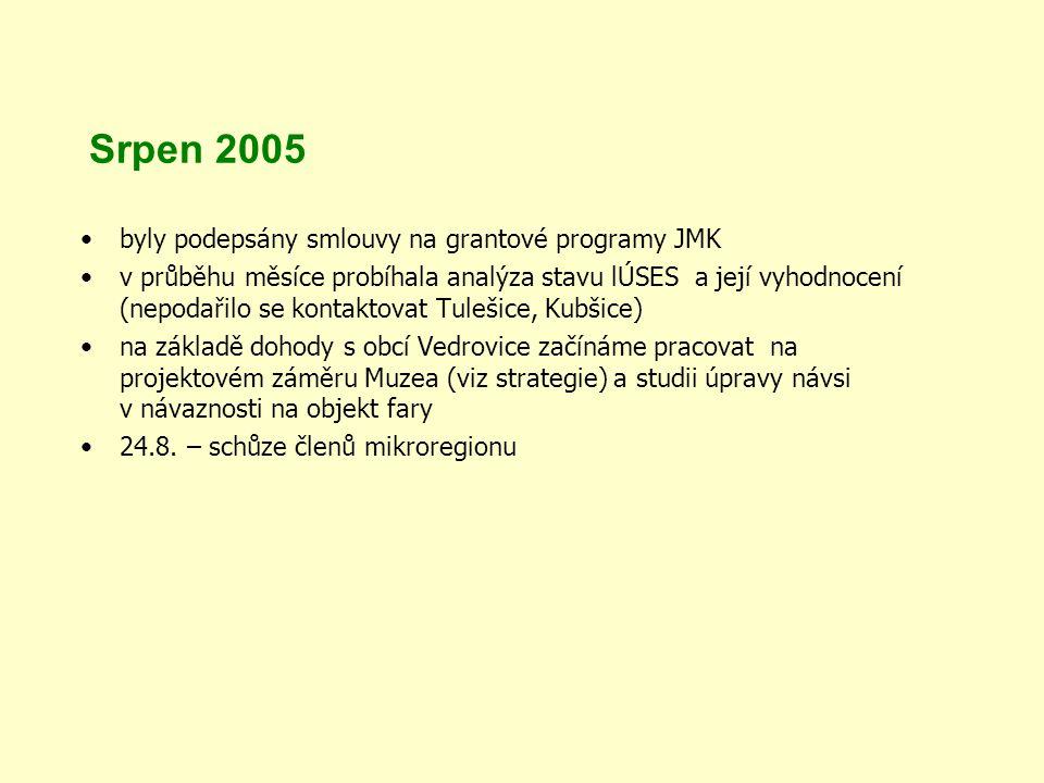 Srpen 2005 byly podepsány smlouvy na grantové programy JMK v průběhu měsíce probíhala analýza stavu lÚSES a její vyhodnocení (nepodařilo se kontaktovat Tulešice, Kubšice) na základě dohody s obcí Vedrovice začínáme pracovat na projektovém záměru Muzea (viz strategie) a studii úpravy návsi v návaznosti na objekt fary 24.8.
