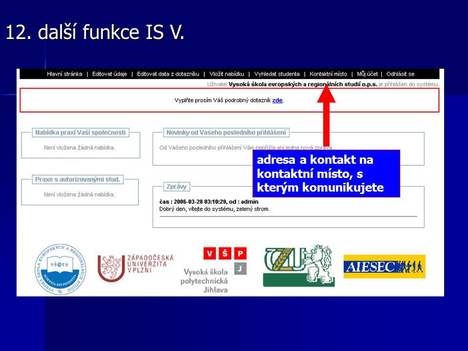 adresa a kontakt na kontaktní místo, s kterým komunikujete 12. další funkce IS V.