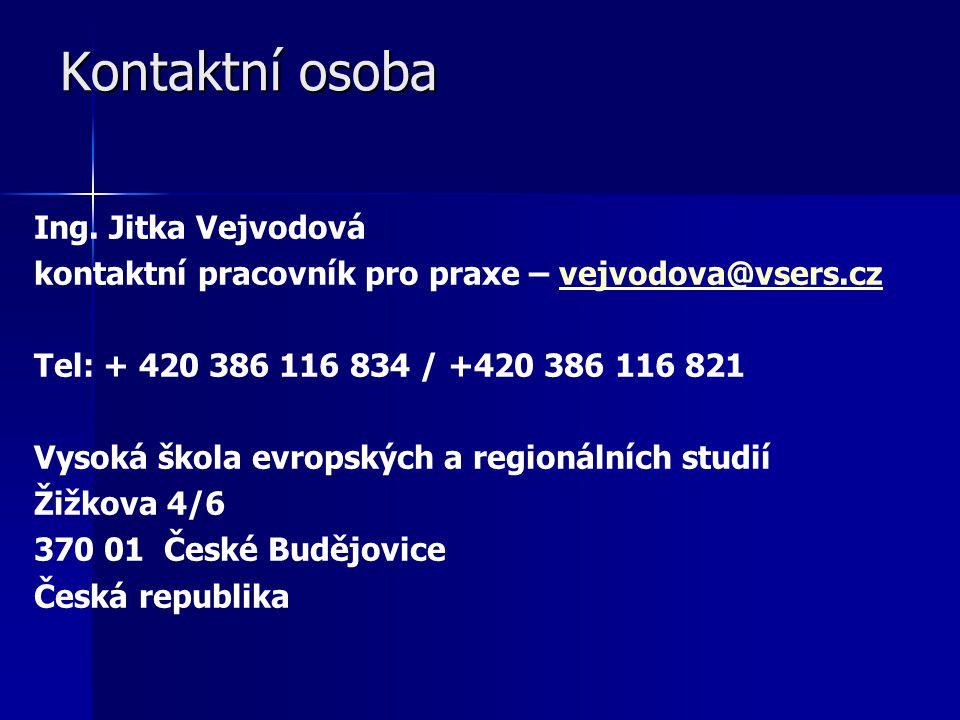 Kontaktní osoba Kontaktní osoba Ing. Jitka Vejvodová kontaktní pracovník pro praxe – vejvodova@vsers.czvejvodova@vsers.cz Tel: + 420 386 116 834 / +42