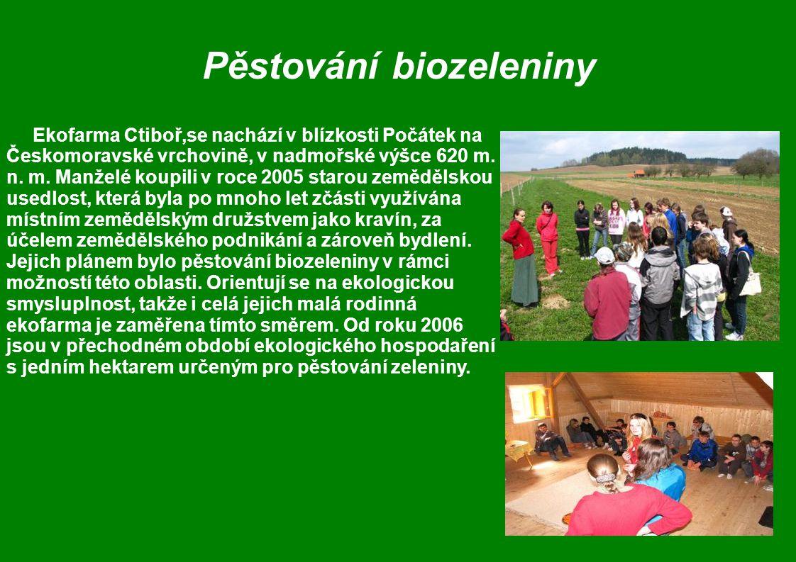 Pěstování biozeleniny Ekofarma Ctiboř,se nachází v blízkosti Počátek na Českomoravské vrchovině, v nadmořské výšce 620 m.