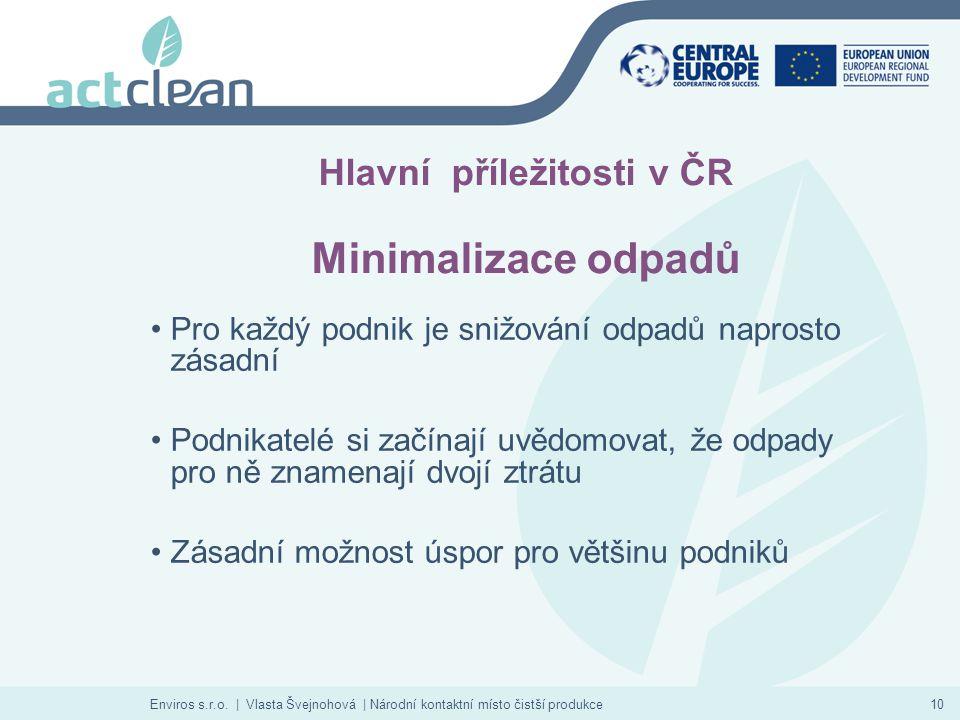 Enviros s.r.o. | Vlasta Švejnohová | Národní kontaktní místo čistší produkce10 Hlavní příležitosti v ČR Minimalizace odpadů Pro každý podnik je snižov