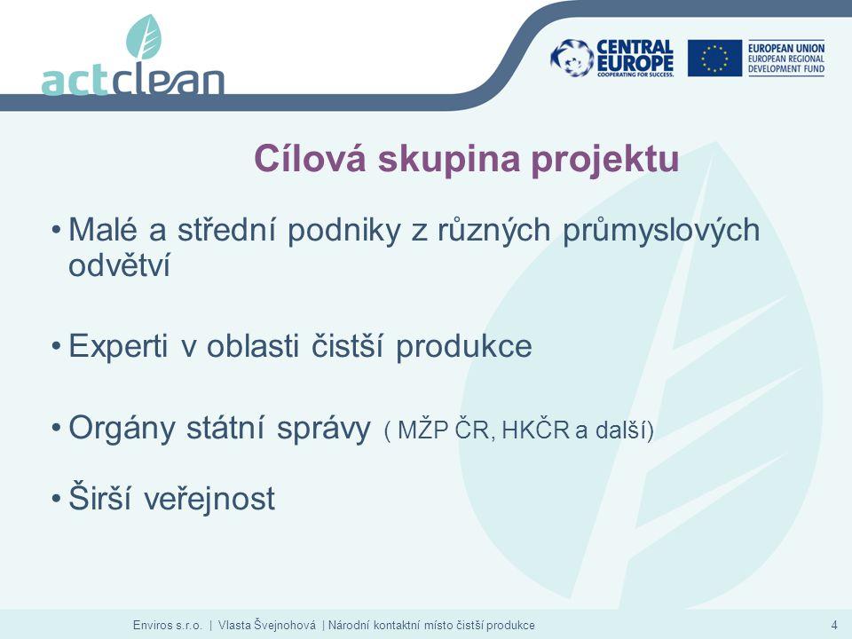 Enviros s.r.o. | Vlasta Švejnohová | Národní kontaktní místo čistší produkce4 Cílová skupina projektu Malé a střední podniky z různých průmyslových od