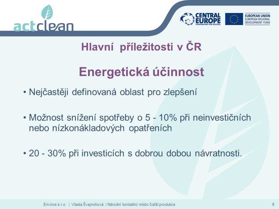 Enviros s.r.o. | Vlasta Švejnohová | Národní kontaktní místo čistší produkce8 Hlavní příležitosti v ČR Energetická účinnost Nejčastěji definovaná obla
