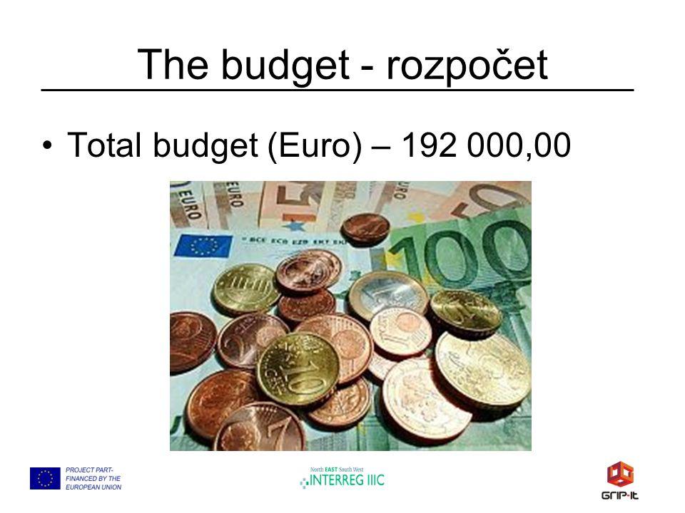 The budget - rozpočet Total budget (Euro) – 192 000,00