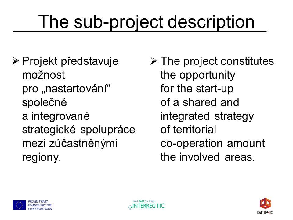 The sub-project description  Pro následující plánovací období 2007-2013 je výhodné využít šancí nabízených programem GRIP-IT pro vznik trvalého vztahu zaměřeného na rozvoj znalostí a příležitostí účastníků projektu EU-NET.
