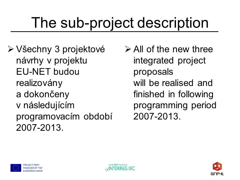 The sub-project description  Všechny 3 projektové návrhy v projektu EU-NET budou realizovány a dokončeny v následujícím programovacím období 2007-2013.