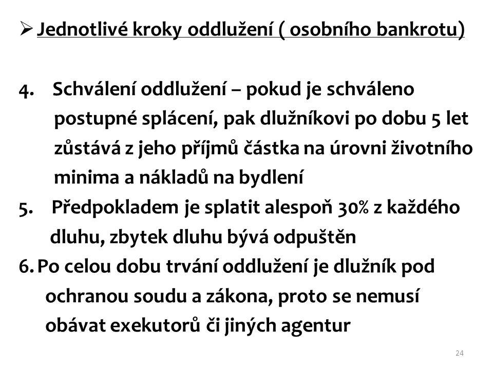  Jednotlivé kroky oddlužení ( osobního bankrotu) 4. Schválení oddlužení – pokud je schváleno postupné splácení, pak dlužníkovi po dobu 5 let zůstává
