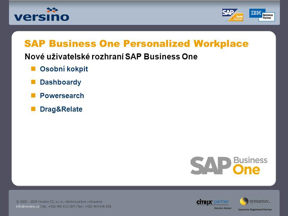 SAP Business One Personalized Workplace Nové uživatelské rozhraní SAP Business One Osobní kokpit Dashboardy Powersearch Drag&Relate