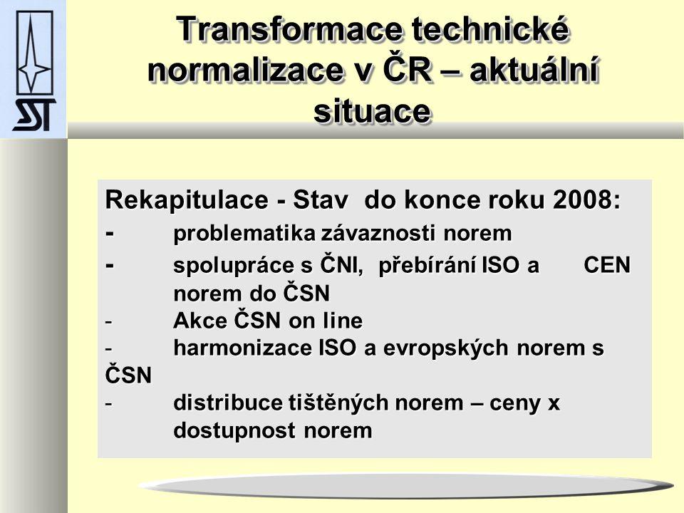 Transformace technické normalizace v ČR – aktuální situace Rekapitulace - Stav do konce roku 2008: - problematika závaznosti norem - spolupráce s ČNI, přebírání ISO a CEN norem do ČSN - Akce ČSN on line - harmonizace ISO a evropských norem s ČSN - distribuce tištěných norem – ceny x dostupnost norem