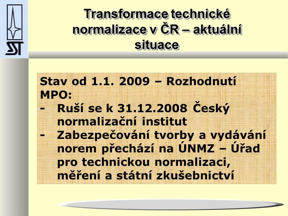 Transformace technické normalizace v ČR – aktuální situace Stav od 1.1.