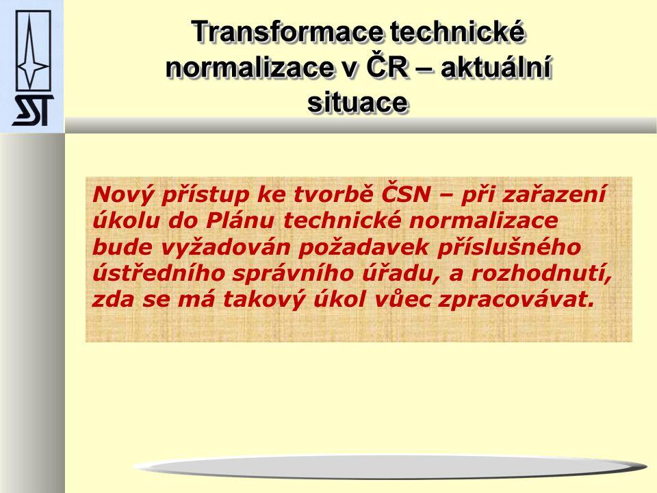 Transformace technické normalizace v ČR – aktuální situace Nový přístup ke tvorbě ČSN – při zařazení úkolu do Plánu technické normalizace bude vyžadován požadavek příslušného ústředního správního úřadu, a rozhodnutí, zda se má takový úkol vůec zpracovávat.