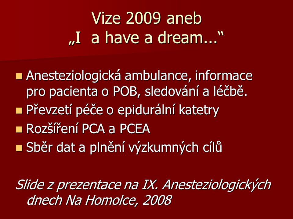 """Vize 2009 aneb """"I a have a dream..."""" Anesteziologická ambulance, informace pro pacienta o POB, sledování a léčbě. Anesteziologická ambulance, informac"""