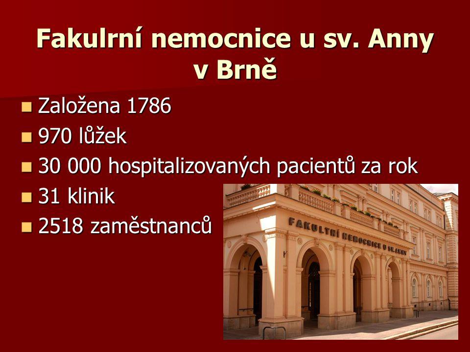 Fakulrní nemocnice u sv. Anny v Brně Založena 1786 Založena 1786 970 lůžek 970 lůžek 30 000 hospitalizovaných pacientů za rok 30 000 hospitalizovaných