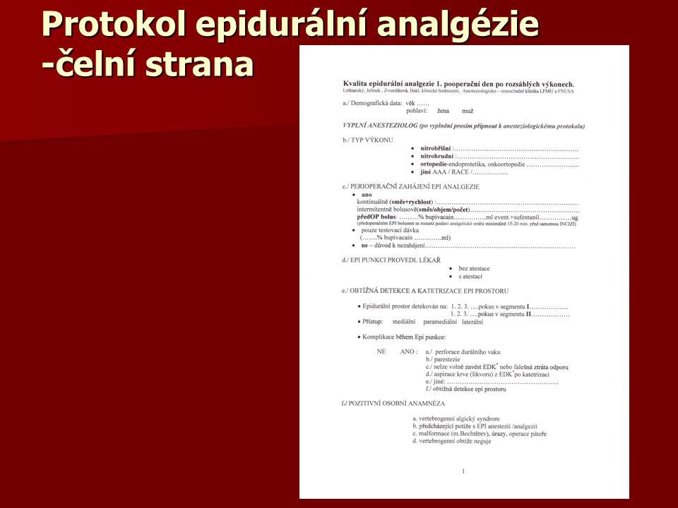 Protokol epidurální analgézie -čelní strana