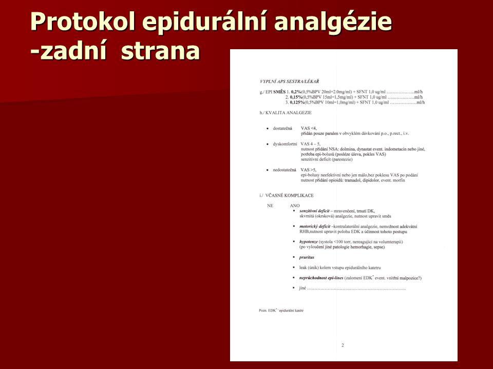 Protokol epidurální analgézie -zadní strana