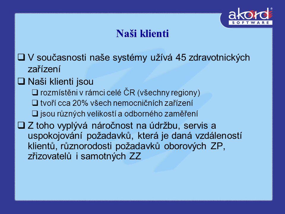Naši klienti  V současnosti naše systémy užívá 45 zdravotnických zařízení  Naši klienti jsou  rozmístěni v rámci celé ČR (všechny regiony)  tvoří cca 20% všech nemocničních zařízení  jsou různých velikostí a odborného zaměření  Z toho vyplývá náročnost na údržbu, servis a uspokojování požadavků, která je daná vzdáleností klientů, různorodosti požadavků oborových ZP, zřizovatelů i samotných ZZ