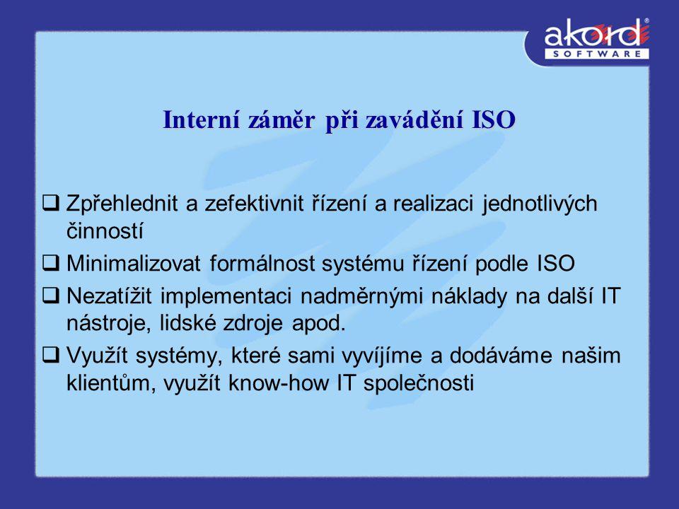 Interní záměr při zavádění ISO  Zpřehlednit a zefektivnit řízení a realizaci jednotlivých činností  Minimalizovat formálnost systému řízení podle ISO  Nezatížit implementaci nadměrnými náklady na další IT nástroje, lidské zdroje apod.