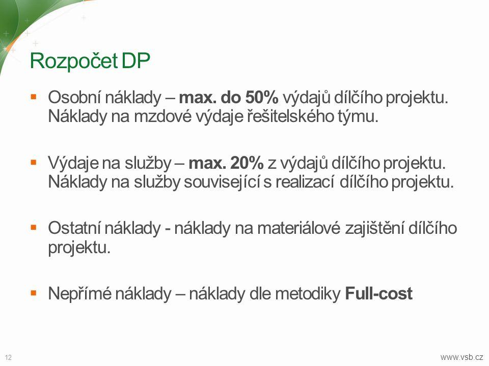 12 www.vsb.cz Rozpočet DP  Osobní náklady – max.do 50% výdajů dílčího projektu.