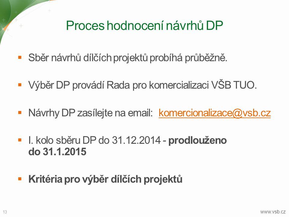 13 www.vsb.cz Proces hodnocení návrhů DP  Sběr návrhů dílčích projektů probíhá průběžně.