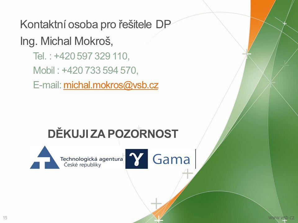 15 www.vsb.cz Kontaktní osoba pro řešitele DP Ing.