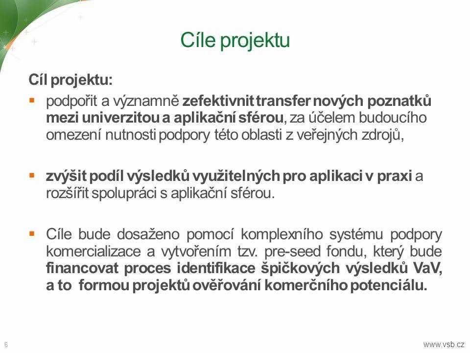 6 www.vsb.cz Cíle projektu Cíl projektu:  podpořit a významně zefektivnit transfer nových poznatků mezi univerzitou a aplikační sférou, za účelem budoucího omezení nutnosti podpory této oblasti z veřejných zdrojů,  zvýšit podíl výsledků využitelných pro aplikaci v praxi a rozšířit spolupráci s aplikační sférou.