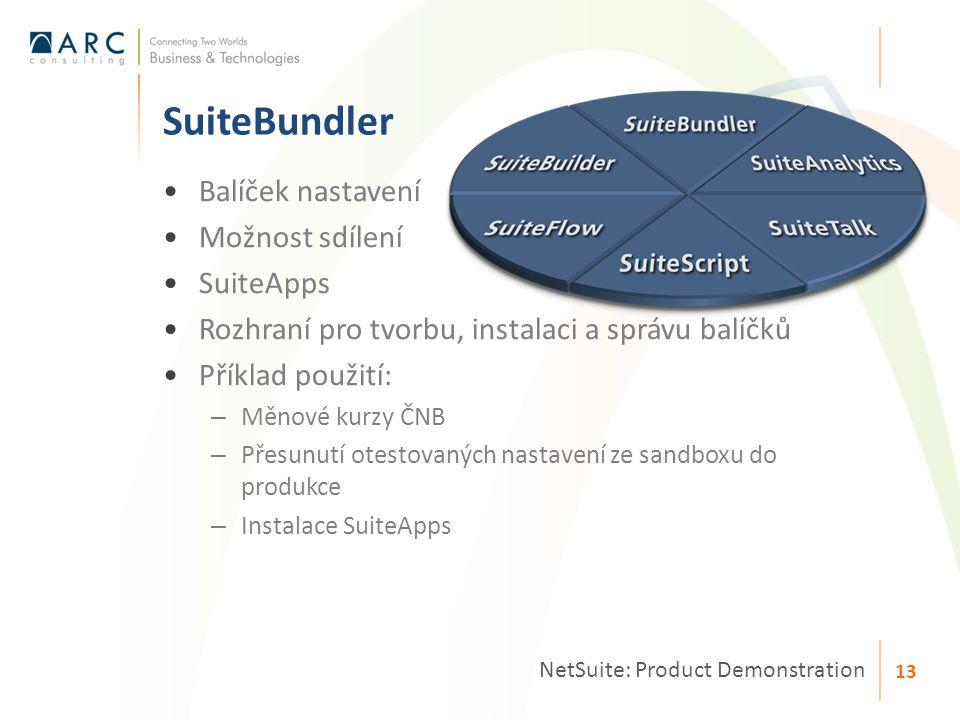Balíček nastavení Možnost sdílení SuiteApps Rozhraní pro tvorbu, instalaci a správu balíčků Příklad použití: – Měnové kurzy ČNB – Přesunutí otestovaných nastavení ze sandboxu do produkce – Instalace SuiteApps SuiteBundler NetSuite: Product Demonstration 13