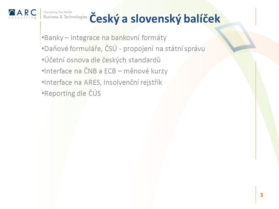 Český a slovenský balíček Banky – integrace na bankovní formáty Daňové formuláře, ČSÚ - propojení na státní správu Účetní osnova dle českých standardů Interface na ČNB a ECB – měnové kurzy Interface na ARES, Insolvenční rejstřík Reporting dle ČÚS 3