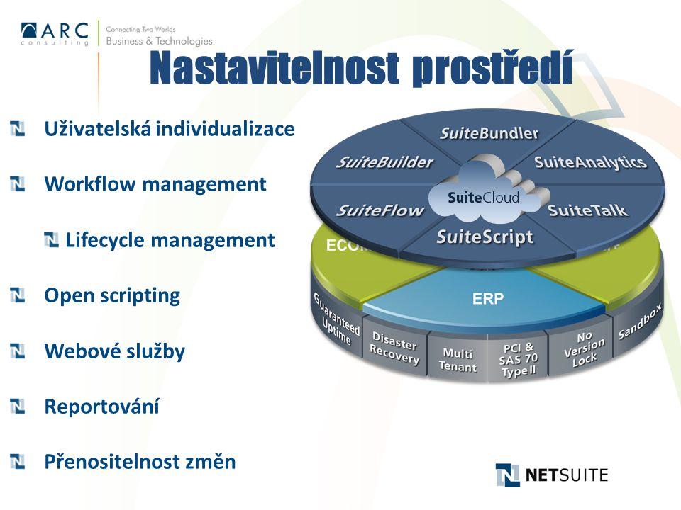 Nastavitelnost prostředí Uživatelská individualizace Workflow management Lifecycle management Open scripting Webové služby Reportování Přenositelnost změn
