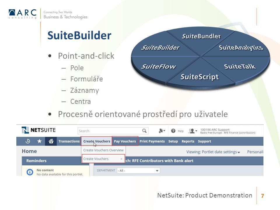Point-and-click – Pole – Formuláře – Záznamy – Centra Procesně orientované prostředí pro uživatele SuiteBuilder NetSuite: Product Demonstration 7